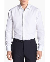 Ferragamo | Black Dobby Trim Fit Sport Shirt for Men | Lyst