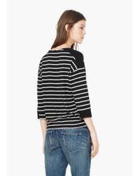 Mango | Black Striped Cotton-blend Sweater | Lyst