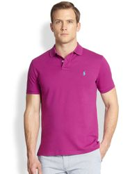 Polo Ralph Lauren Purple Custom-Fit Stretch-Mesh Polo for men