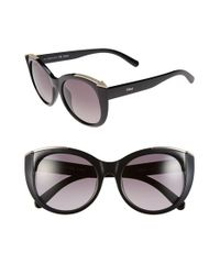 Chloé - Black 'dallia' 55mm Rounded Cat Eye Sunglasses - Lyst
