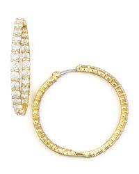 Roberto Coin | Metallic 35mm Yellow Gold Diamond Hoop Earrings | Lyst