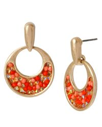 Kenneth Cole | Orange Small Beaded Hoop Earrings | Lyst