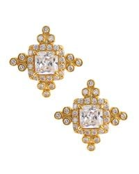 Freida Rothman | Metallic Embroidered Cz Stud Earrings | Lyst