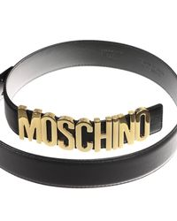 Moschino - Black Belt Lettering Calf Leather - Lyst