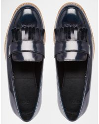 ASOS - Blue Mascot Leather Loafers - Lyst
