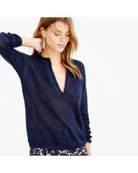 J.Crew - Blue Slit-neck Beach Sweater - Lyst