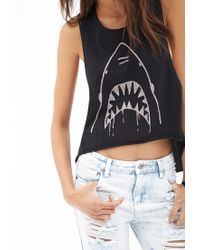 Forever 21 | Black High-low Shark Muscle Tank | Lyst