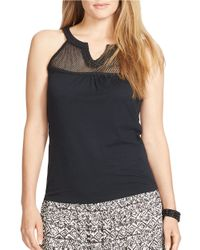 Lauren by Ralph Lauren | Black Plus Lace-trimmed Jersey Tank | Lyst