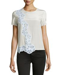 Stella McCartney - Natural Lace-detailed Blouse - Lyst