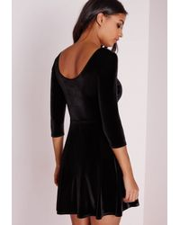 Missguided | 3/4 Sleeve Velvet Skater Dress Black | Lyst