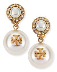 Tory Burch - White Selma Pearly Drop Earrings - Lyst
