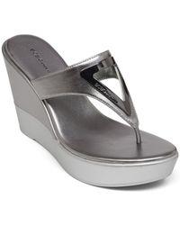 BCBGeneration - Gray Quiz Wedge Thong Sandals - Lyst