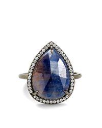 Eva Fehren - Zoe Ring in 18k Blackened White Gold with Bluegrey Sapphire White Diamond Pave - Lyst