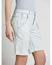 Free People | Blue Womens Rugged Cutoff Denim Short | Lyst