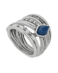 Kenneth Cole - Silvertone Blue Stone Faux Stacked Ring - Lyst