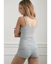 Forever 21 - Natural Stripe Ribbed Knit Pj Set - Lyst
