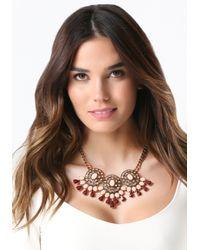 Bebe | Metallic Triple Station Necklace | Lyst