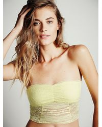 Free People - Yellow Cropped Lace Tube - Lyst
