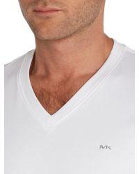 Michael Kors | White Logo V Neck Regular Fit T-shirt for Men | Lyst