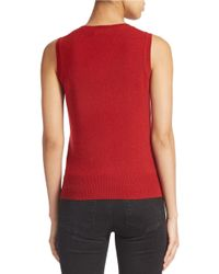 Lord & Taylor | Red Cashmere Crewneck Shell | Lyst
