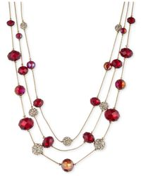 Nine West | Gold-Tone Red Illusion Necklace | Lyst