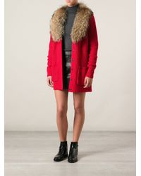 P.A.R.O.S.H. - Red Fur Collar Cardigan - Lyst