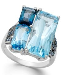 Macy's | Blue Topaz (19 Ct. T.w.) And Swarovski Zirconia Accent Ring In Sterling Silver | Lyst