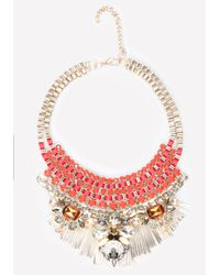 Bebe | Multicolor Crystal Ribbon Bib Necklace | Lyst