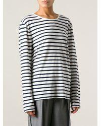 T By Alexander Wang - Blue Striped T-Shirt - Lyst
