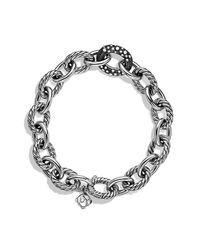 David Yurman - Oval Large Link Bracelet With Black Diamonds - Lyst