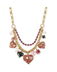 Betsey Johnson - Goldtone Pink Crystal Heart Multicharm Frontal Necklace - Lyst