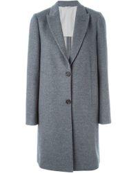 Brunello Cucinelli - Gray Peaked Lapels Classic Coat - Lyst