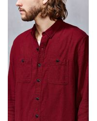 Stapleford - Purple Solid Dobby Flannel Button-down Workshirt for Men - Lyst