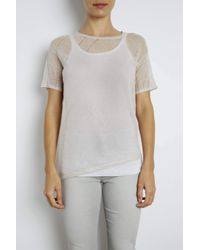 INHABIT | Gray Linen Asymmetric Plaid Tee | Lyst