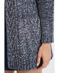 Forever 21   Blue Cable Knit Cardigan   Lyst