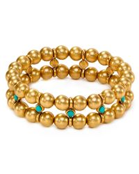 Ralph Lauren | Metallic Lauren Double Row Bead Bracelet | Lyst