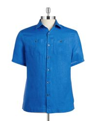 Michael Kors | Blue Linen Sportshirt for Men | Lyst