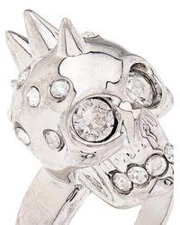 Alexander McQueen - Metallic Crystal-Embellished Skull Ring - Lyst
