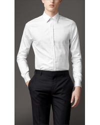 Burberry - White Modern Fit Check Cotton Shirt for Men - Lyst