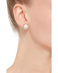 Jordan Alexander - White Mo Exclusive: 18k Yellow Gold Diamond And Pearl Slice Earrings - Lyst