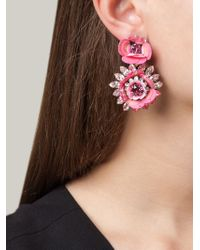 Shourouk - Pink Flower Clip-on Earrings - Lyst