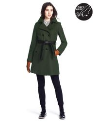 DKNY - Green Belted Double-Breasted Coat - Lyst