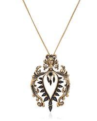 Roberto Cavalli - Black Plated Brass Swarovski Necklace - Lyst