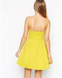 ASOS | Yellow Crop Top Mini Bandeau Debutante Dress | Lyst