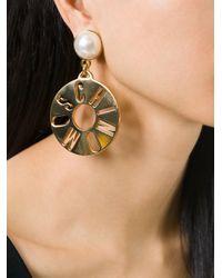 Moschino | Metallic Logo Disc Clip On Earrings | Lyst