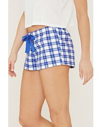 Forever 21 - Blue Plaid Cotton Pj Shorts - Lyst
