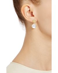 Jamie Wolf - White Lotus Flower Pear Drop Earring with Rainbow Moonstone and Diamonds - Lyst