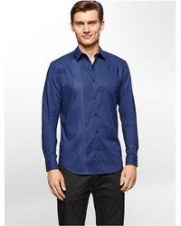 Calvin Klein | Blue White Label Premium Slim Fit Engineered Tonal Stripe Shirt for Men | Lyst