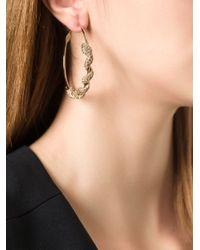 Roberto Cavalli - Metallic Pavé Snake Hoop Earrings - Lyst