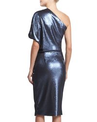 Sally Lapointe - Blue Sequined One-shoulder Dress - Lyst